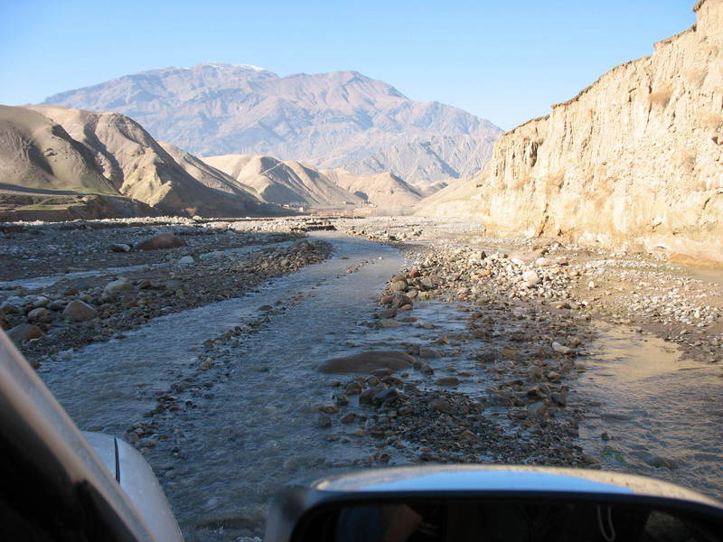 Much of the road is in the riverbed