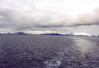#1: Humpback Whale and Deception Island: Stonethrow Ridge (centre); to the right: Vapour Col and Mt. Kirkwood