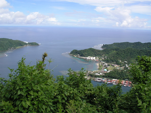 Looking down on the entrance to Pago Pago Harbor.