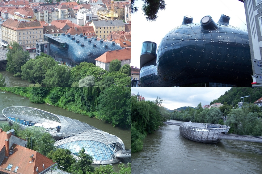 Modern architecture in Graz - Kunsthaus Graz (above) and the Island on the Mur River (below)