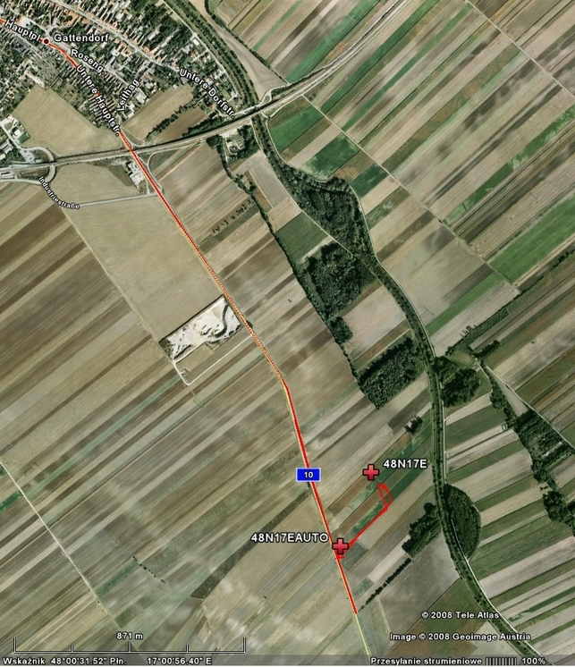 My track on the satellite image (© Google Earth 2008)