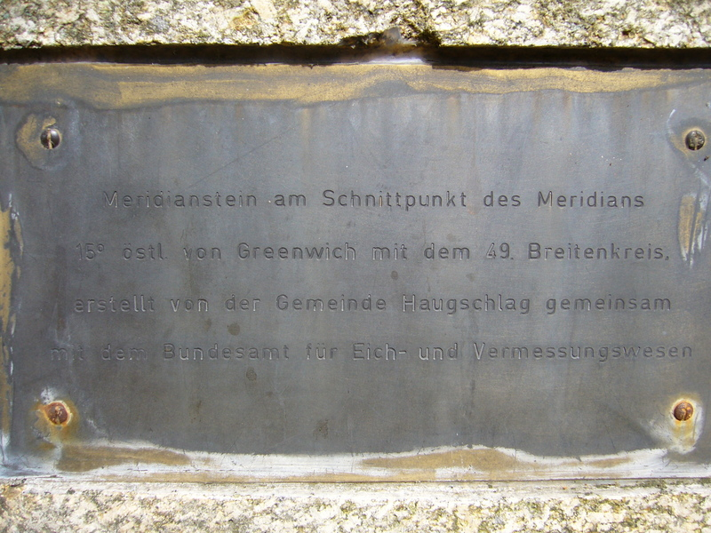 Meridian monument (closeup of the inscription)