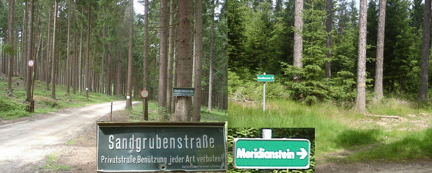 Route to confluence with sign to Meridianstein