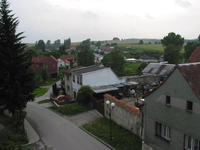 View towards Confluence from an attic window in Nova Bystrice