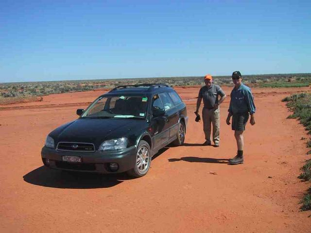 Ian and Scott at our nearest approach in Ian's Subaru Outback