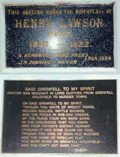 Henry Lawson plaques at Grenfell