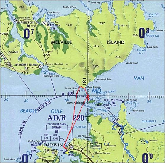 Aviation map of the general area