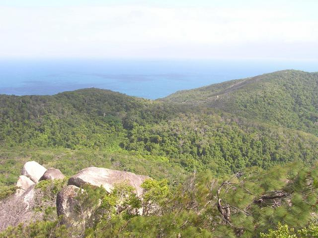 A view from the summit of Fitzroy Island.  The confluence is in the ocean, about 9 km away.