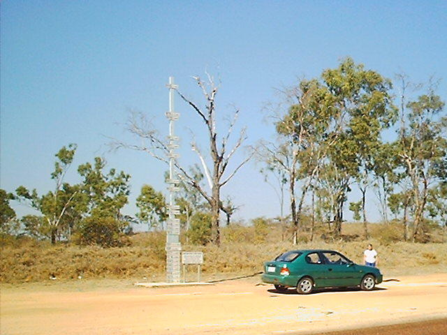 The flood marker at the Burdekin River.