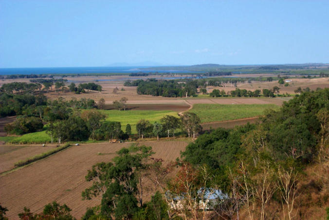 Sugar fields and coastal scenery, confluence is in the distance on the right.