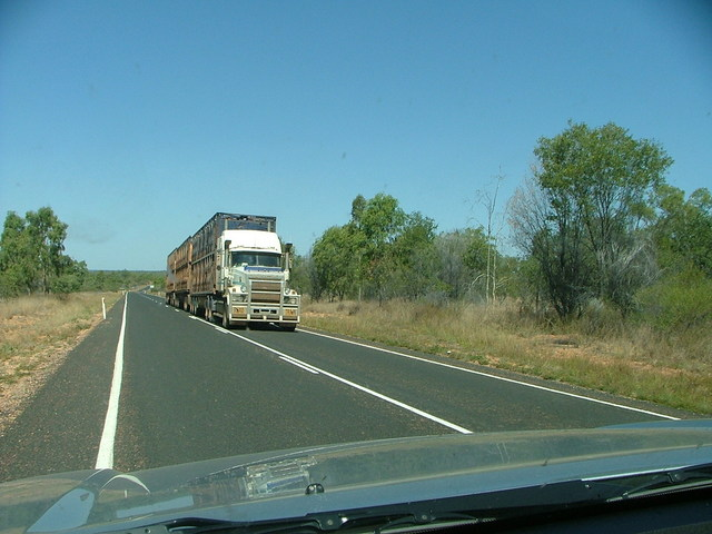 Road train north of Clermont, Qld