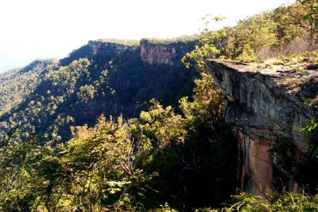 High cliffs mark the perimeter of the tableland
