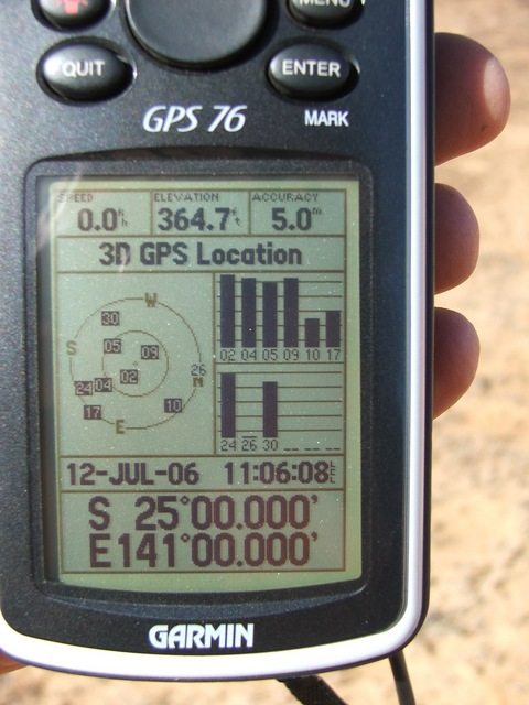 GPS showing the confluence details 25S 141E