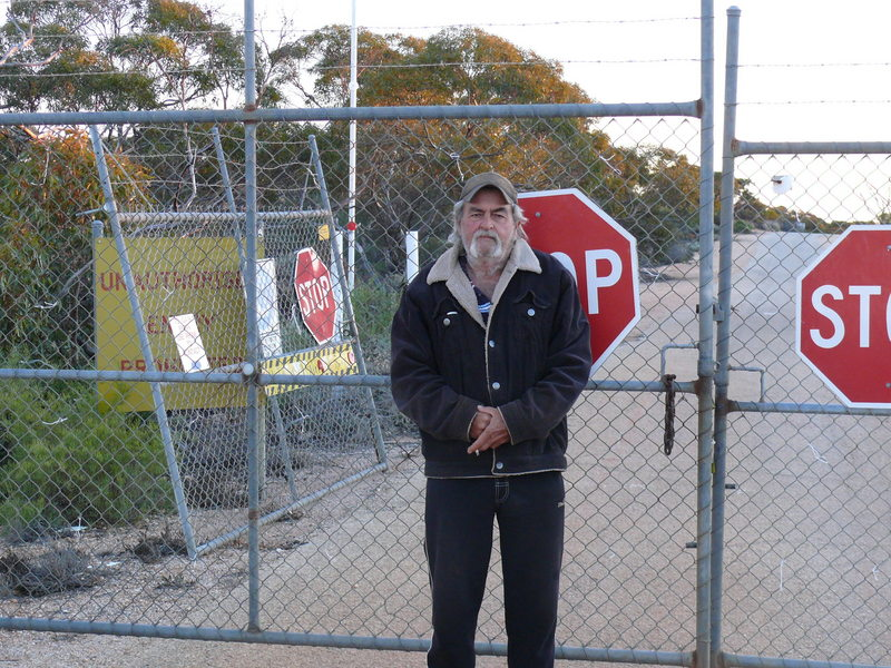 Robyn at the front gate of Maralinga