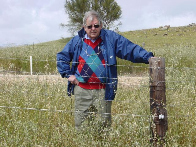 Peter behind electric fence
