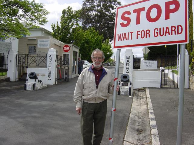 My father at entrance to Anglesea Barracks in Hobart