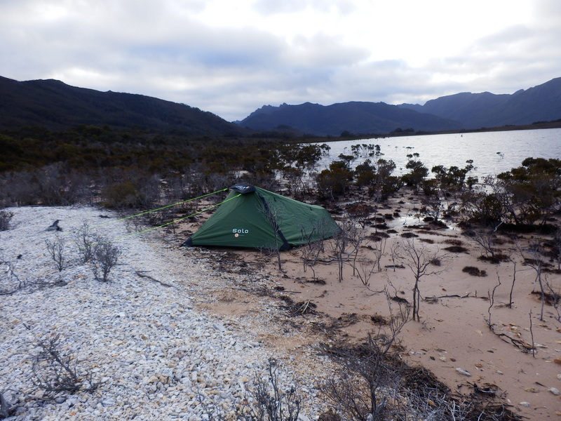 Camp at Lake Pedder
