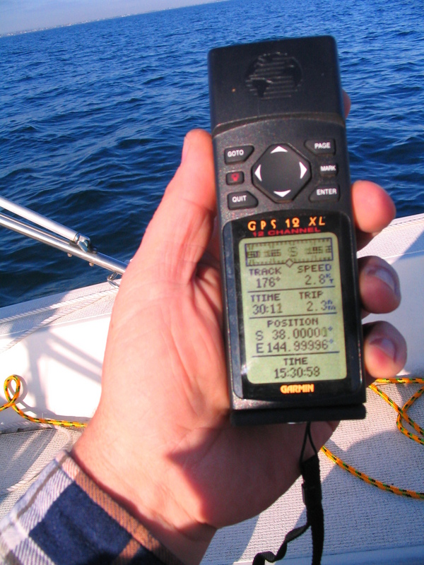 The all important GPS shot, 3.5 metres from the confluence in a moving boat!