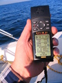 #2: The all important GPS shot, 3.5 metres from the confluence in a moving boat!
