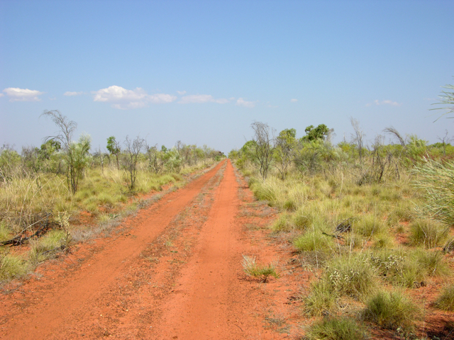 The track heading east from the main highway