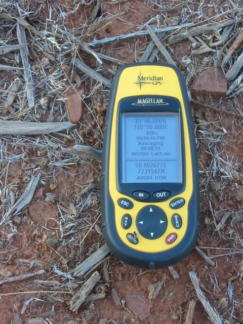 GPS on the ground at 120°E 25°S