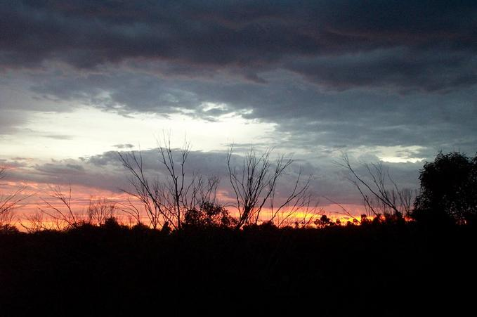 Sunset the night before.  The photo was taken while staying along side the Hyden to Norseman Road.