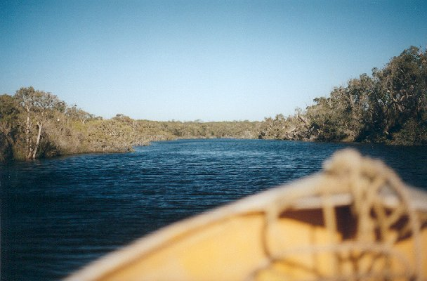 Motoring down the river towards Irwin Inlet.