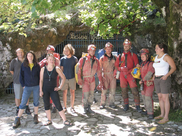 Cavers of the camp in front of the Vjetrenica cave.