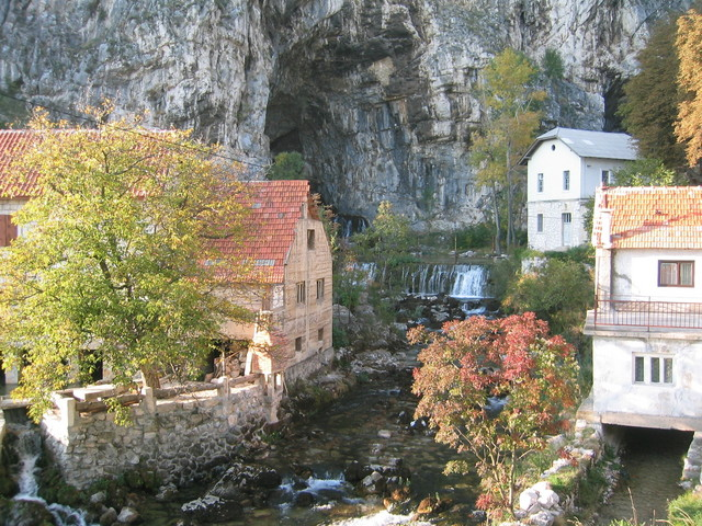 Little town of Livno where I stayed has a river flowing out of a cave