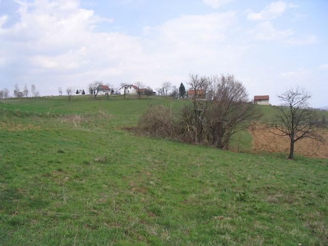 View to the East: a few houses, probably the village Medovci