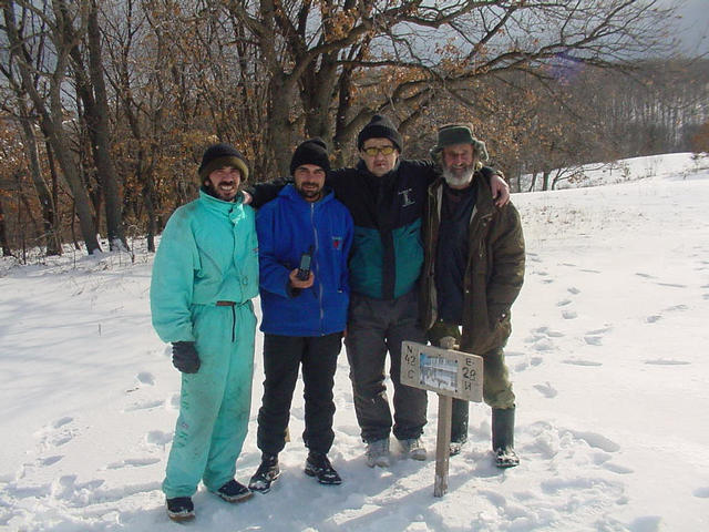 At the confluence, pictured left to right are two of Villa Philadelphia's guides, Fetka and Zhorko, Villa Philadelphia's manager, Bobby Tetovski and Sinemoretz' historian and naturalist, Bai Stefan.