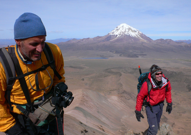 Paolo (left) and Greg (right) make it to 2nd summit at 5357 m (17571 ft; Mt. Sajama in back)