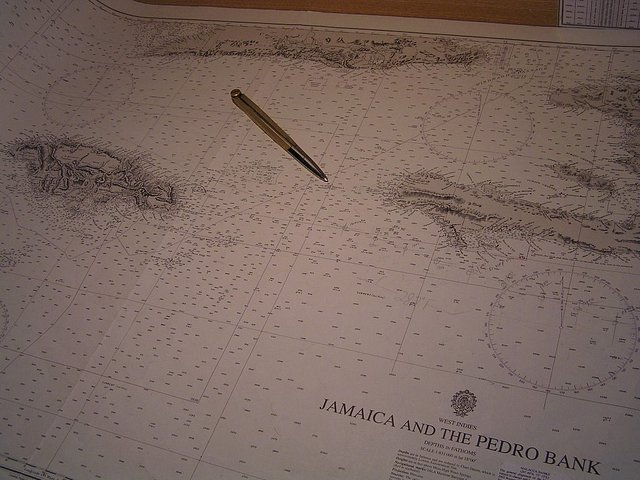 The location of Navassa on the nautical chart
