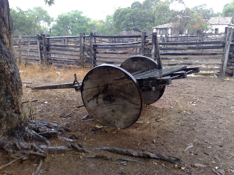 An antique ox cart seen near 7s x 43w
