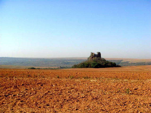 A solitary rock in the plain region