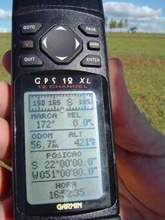 GPS RECEIVER SHOWING THE CONFLUENCE COORDINATES
