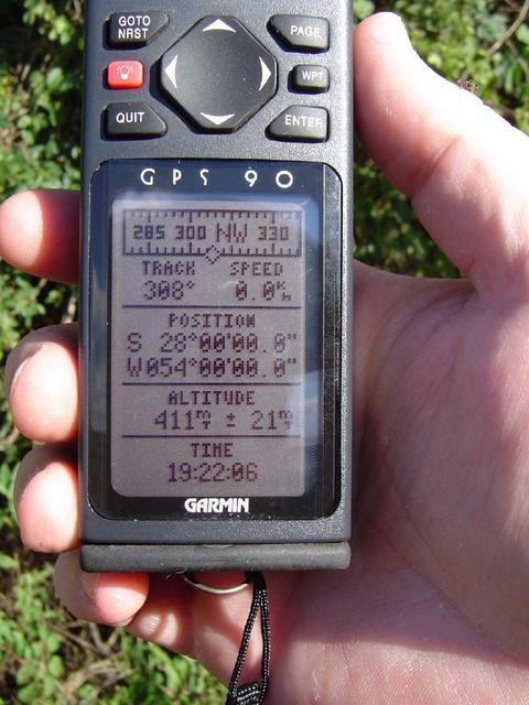 GPS on the spot, showing 411m of altitude