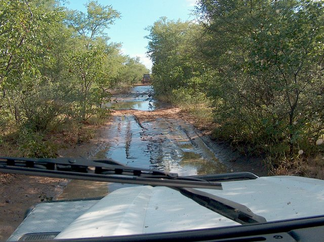 Muddy track on the way back to Khama Rhino Sanctuary