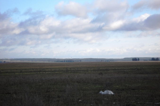 Vicinity. Mozyr on the horizon line.