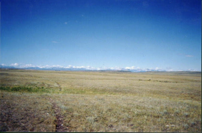 View of the Rocky Mountains from the plain above river