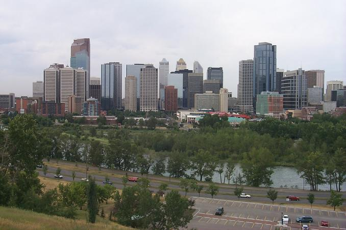 Downtown Calgary and the Bow River as seen from Crescent Road.