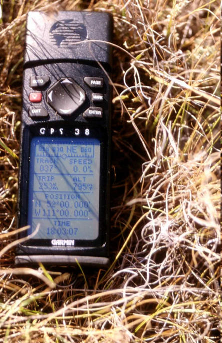 The GPS reading at the confluence.
