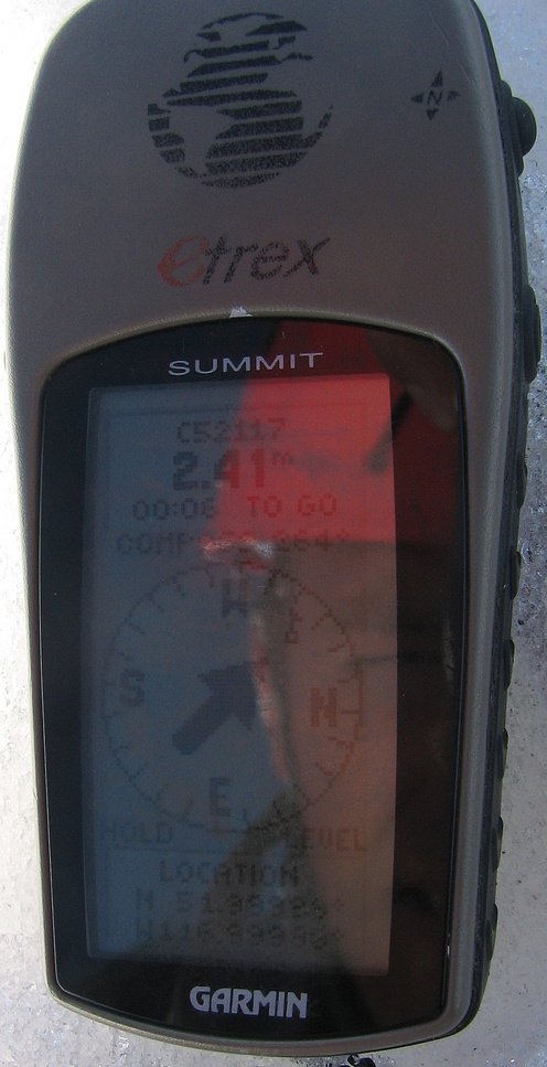 The GPS proof shot, with a reflection of my face.  The GPS accuracy was 5m.