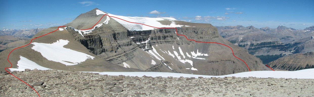 Our route up to and over the Mt Amery icefield and starting the ridge walk to the confluence.