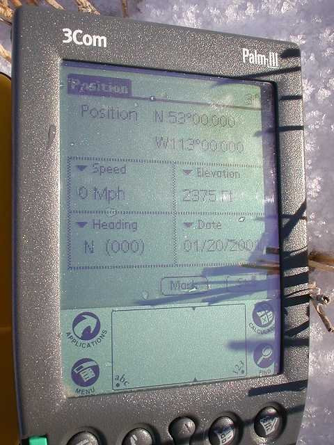The Palm III displaying data from the attached GPS unit