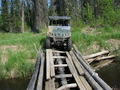 #5: Greg driving the Rhino across the makeshift bridge
