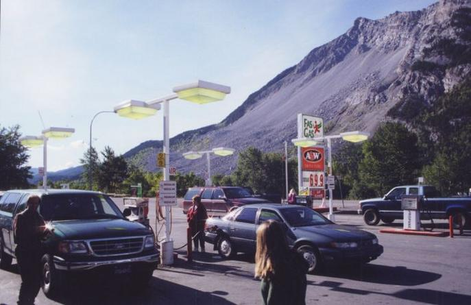 Refueling at Frank's Slide