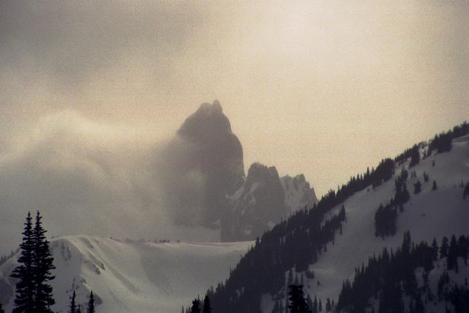 Closeup view of The Black Tusk shrouded by clouds