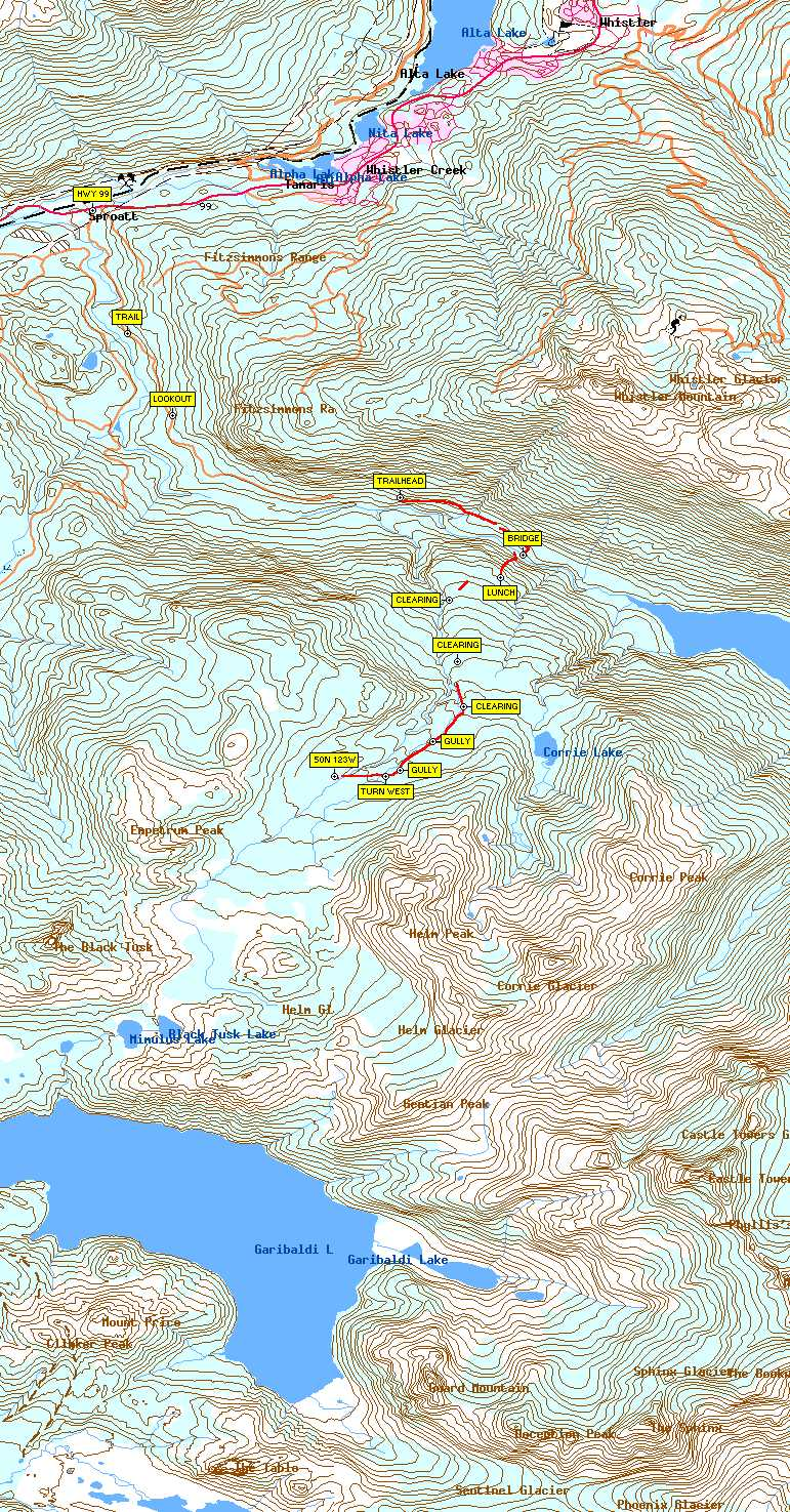 Map image(large) showing waypoints & topography