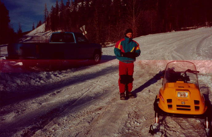 The truck, the snowmobile, and the brother - nice jacket :)